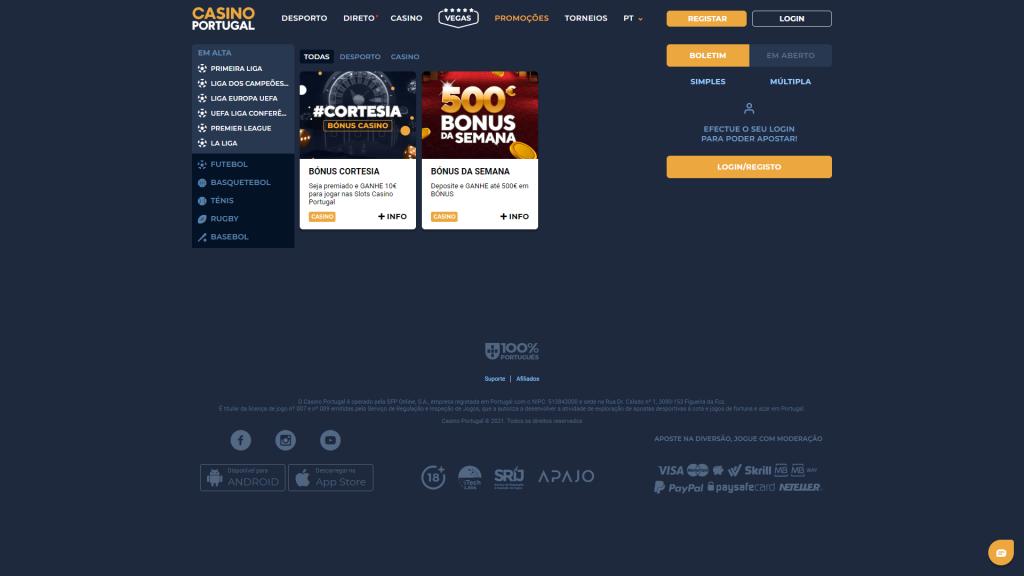 Casino Portugal Promoções