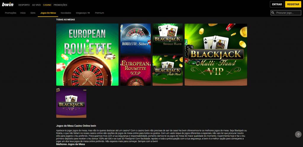 Bwin Casino jogos de mesa